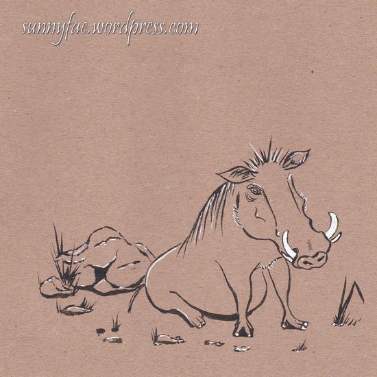1 warthog pig inktober