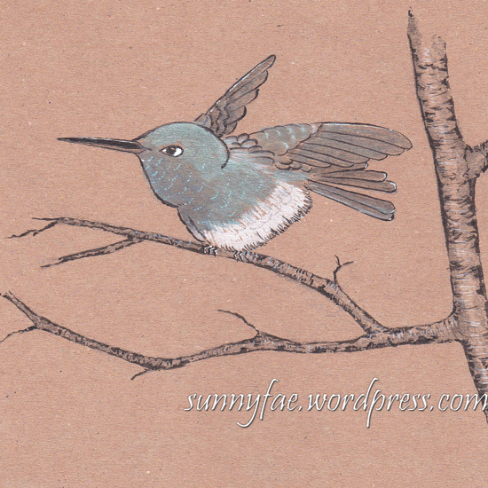 2 humming bird inktober