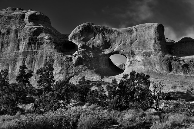 Sandstone Fins and a Tunnel Arch (Black & White, Arches National Park)
