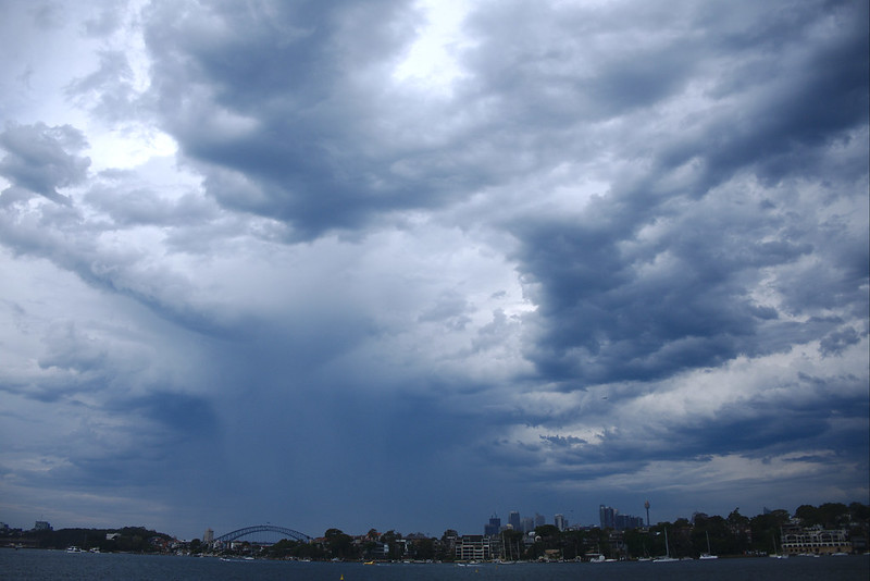 Storm gathers over Sydney, New Year's Eve 2018