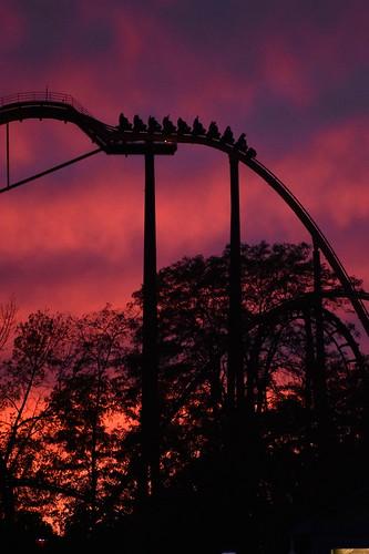 six flags great america gurnee fright fest raging bull roller coaster sunset