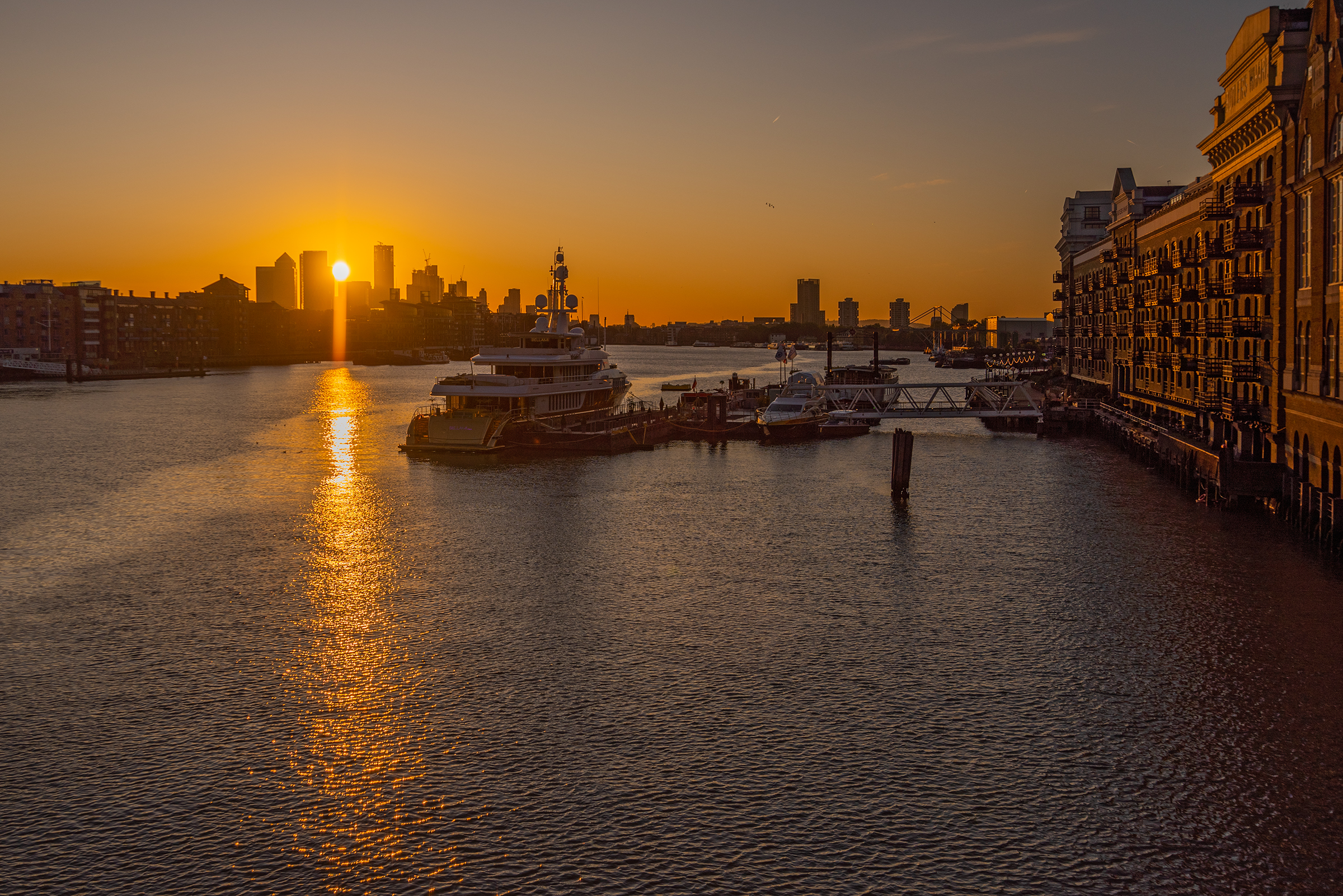 Canary Wharf, London and River Thames sunrise from Tower Bridge