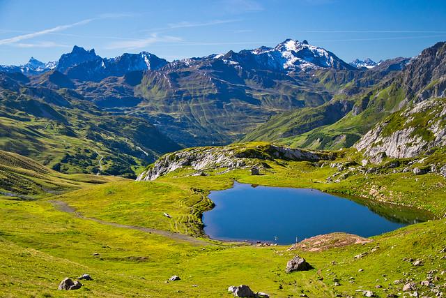 Monzabon lake and Verwall Alps
