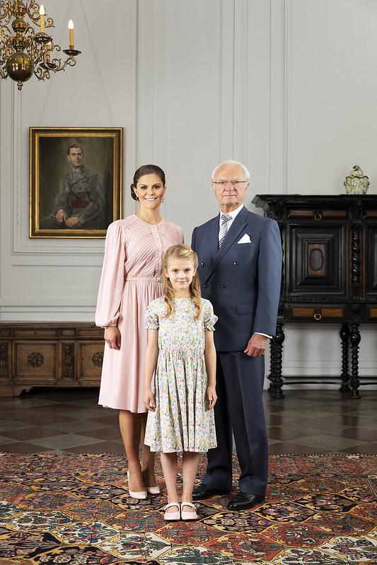 Koning Carl Gustav, Kroonprinses Victoria en Prinses Estelle van Zweden (2019)