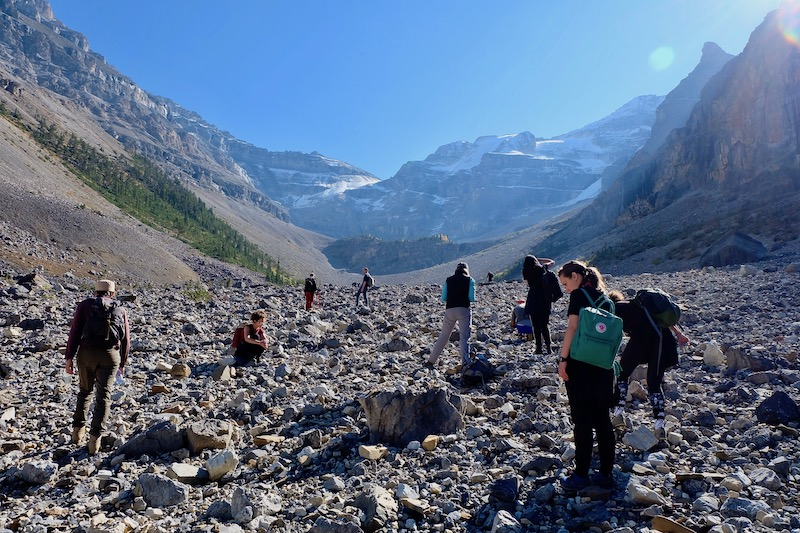 Hike to Stanley Glacier in the Kootenay National Park with seminar 'Geologic Time' led by Latitudes. Banff International Curatorial Institute, Banff Centre for Arts and Creativity, Banff, Canada, 11 September–6 October 2017. Photo: Latitudes.