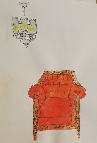 Hotel Furniture. Pen and watercolour.