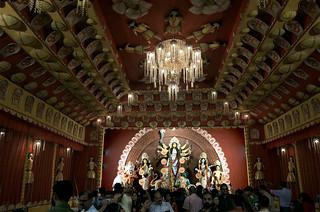 Durga puja pandal at Dipannita, Dwarka