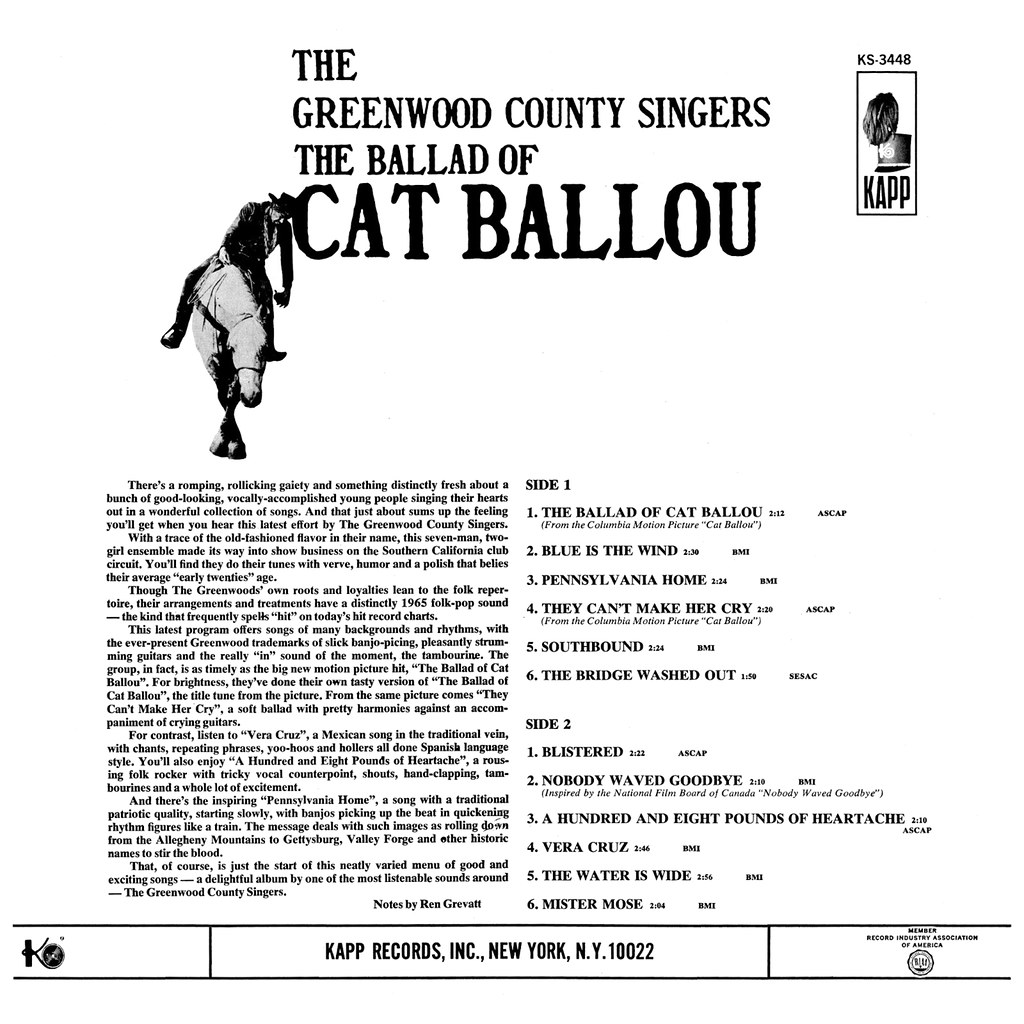 The Greenwood County Singers - The Ballad of Cat Ballou