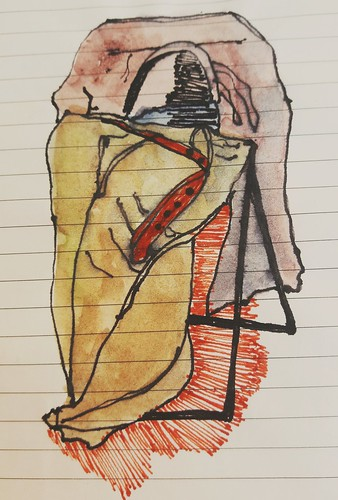 On the chair. Pen and watercolour on writing paper.