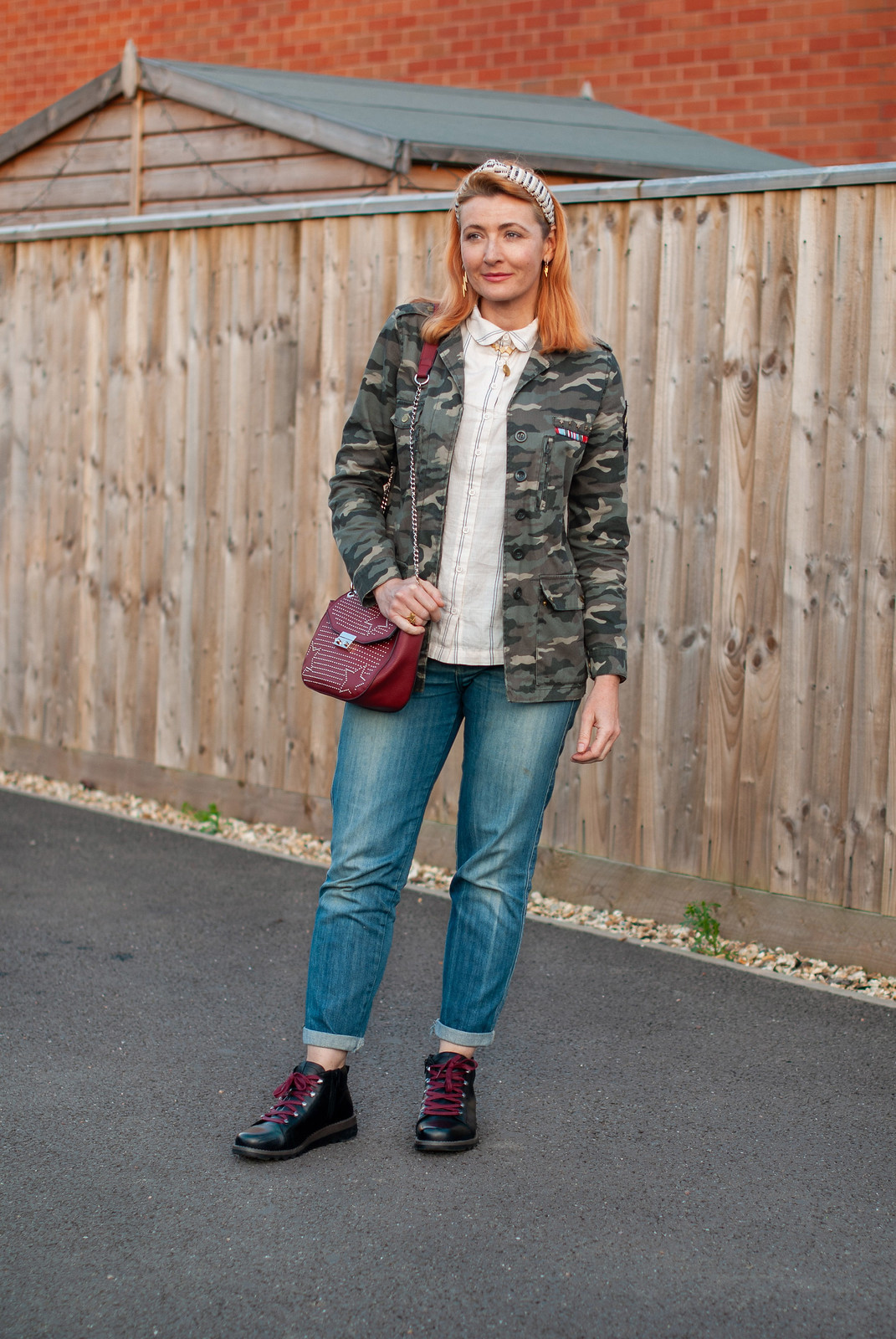How to Do Masculine Chic With Denim, Camo and Military-Style Boots (Josef Seibel Lina 09 Boots, AW19) by Not Dressed As Lamb, over 40 fashion and style blogger