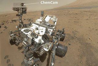 "The ChemCam—short for ""chemistry"" and ""camera""—sits atop NASA's Mars Curiosity rover."