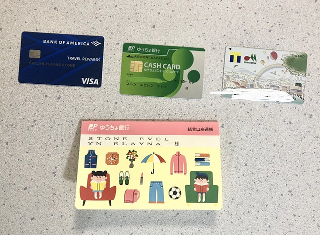 Multiple credit cards from Japan and the US.