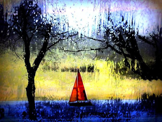 sailboat and it's raining
