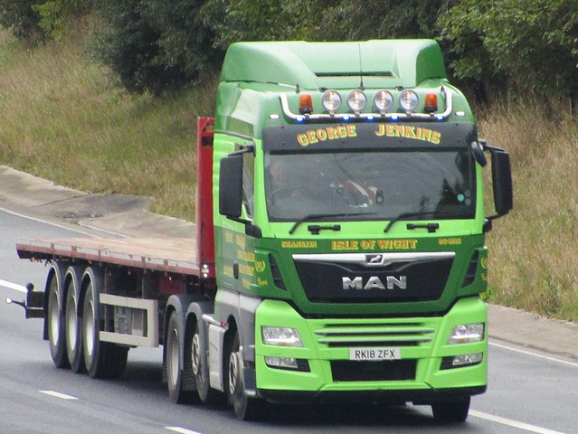 George Jenkins Transport, Isle Of Wight M.A.N. (RK18ZFX) On The A1M Northbound