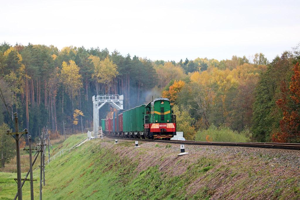 Маневровый ЧМЭ3-2269 с грузовым составом на перегоне Вендриж/Голынец.