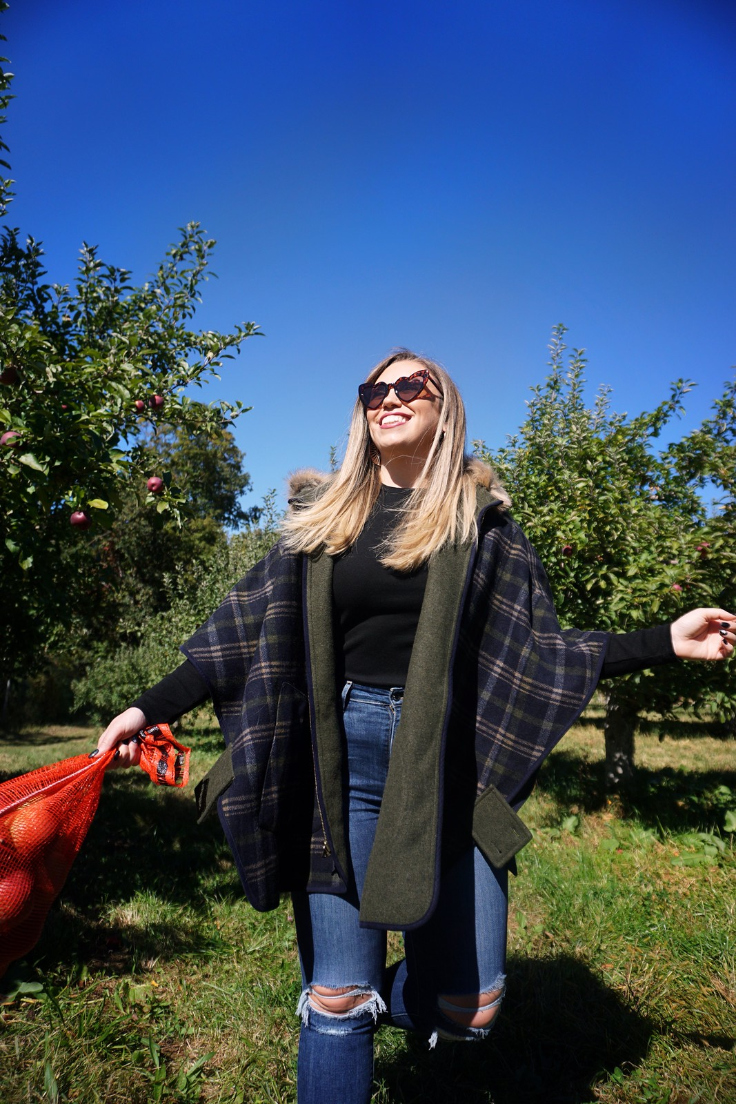 The Best Apple Orchards Close to New York City | Fishkill Farms Apple Picking | Best Places to Apple Pick Near NYC | Where to go Apple Picking near NYC | Joules USA Plaid Reversible Cape Coat