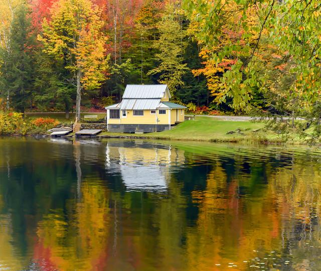 Autumn Cabin Reflection
