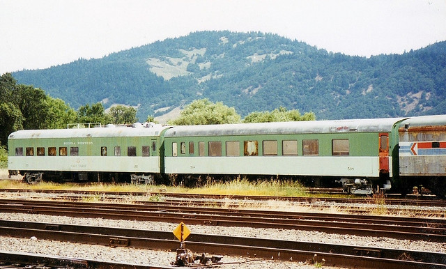 Sierra Western coach and diner [former SP and NP] at Willts in 1995