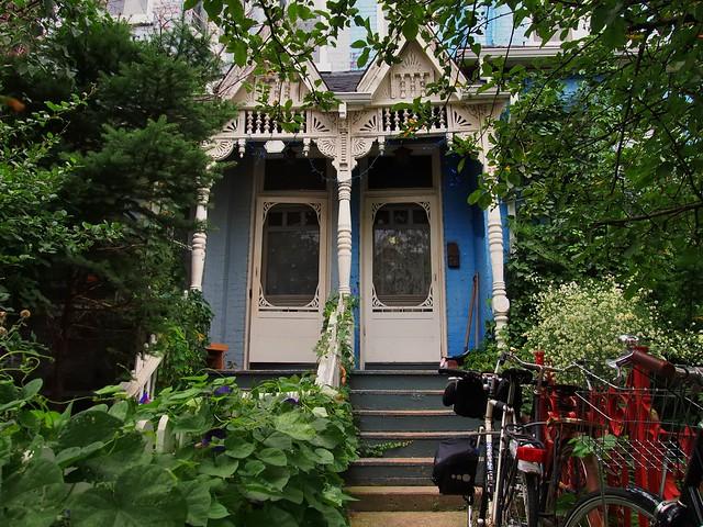 Two Victorian front doors, Kensington Market, Toronto..