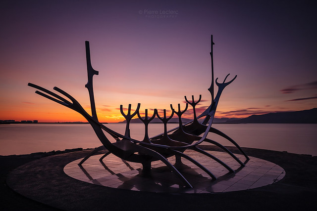 Solfar Sun Voyager at sunset in Iceland