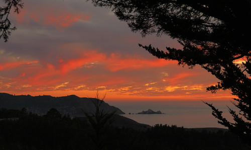 pacifica sunset redskies california ocean coast view