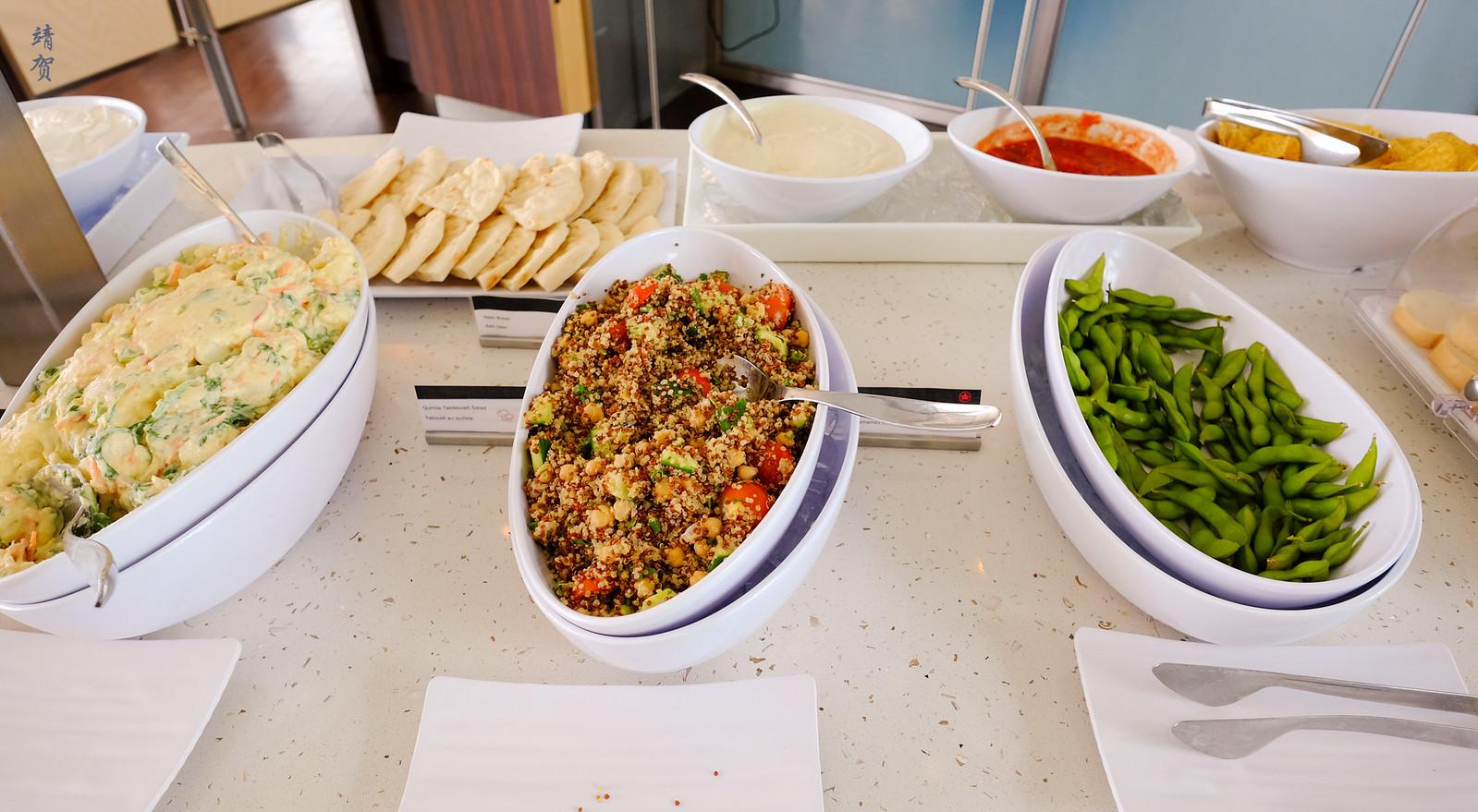 Salad and edamame
