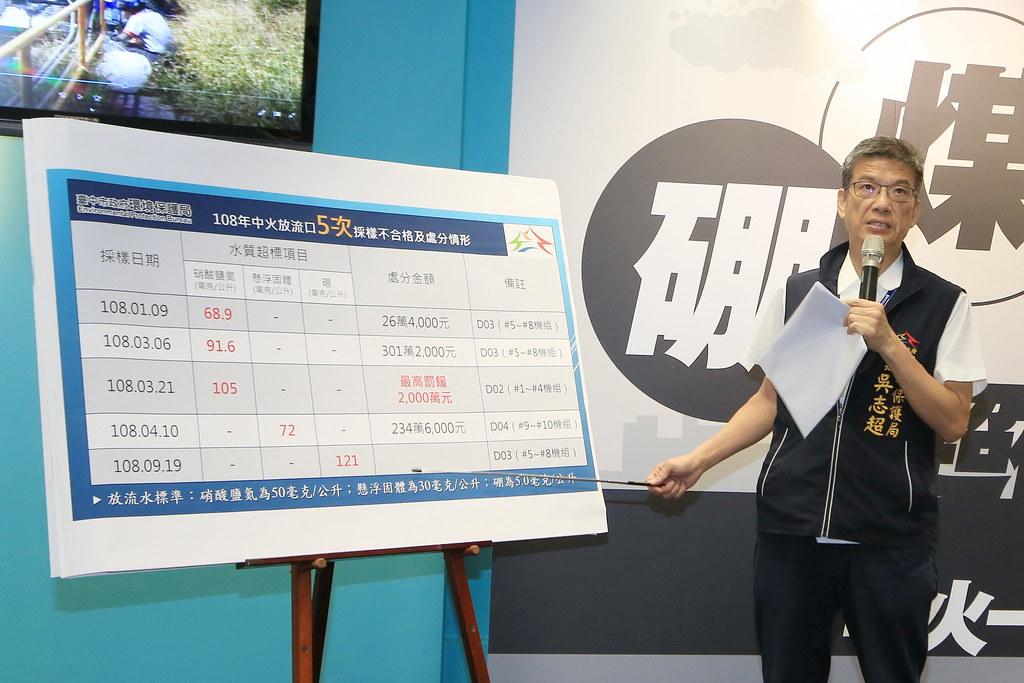 台中市環保局長吳志超說明查緝中火污染過程。圖片來源:台中市環保局新聞稿