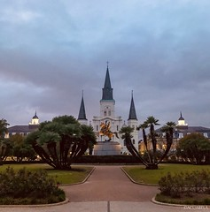 Jackson Square with Jackson's statue at center, and Saint Louis Cathedral