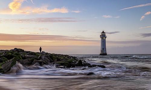 sunset lighthouse landscape seascape rivermersey newbrighton wallasey england unitedkingdom