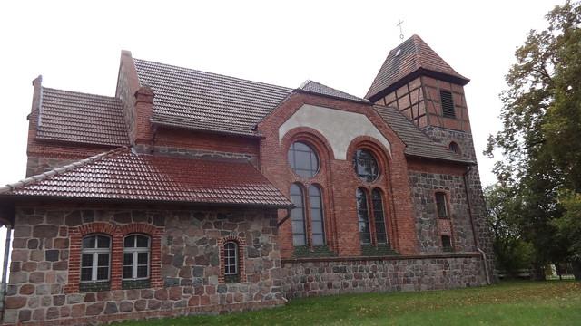 1899/1900 Steinbeck neoromanische Dorfkirche mit Westturm B158 Dorfstraße 27 in 16259