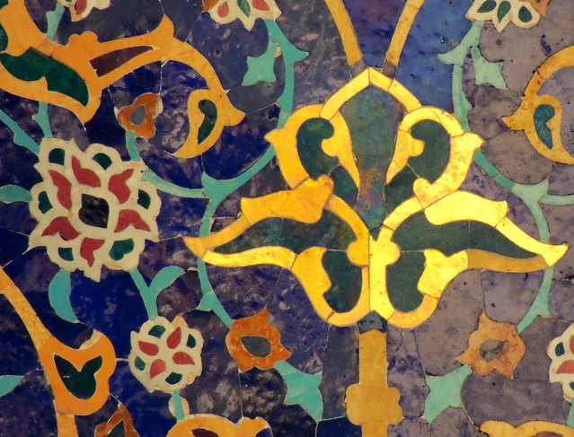 Beautiful mosque tile floral pattern design gold on blue - Nishapur, Iran