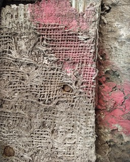 DETAIL OF BLOOD ON THE BABYLONIAN WALL BY THE EUPHRATES