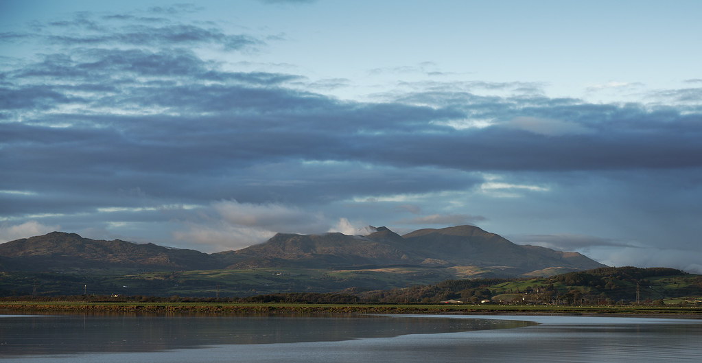 Coniston Old Man, evening light, from Kirkby in Furness