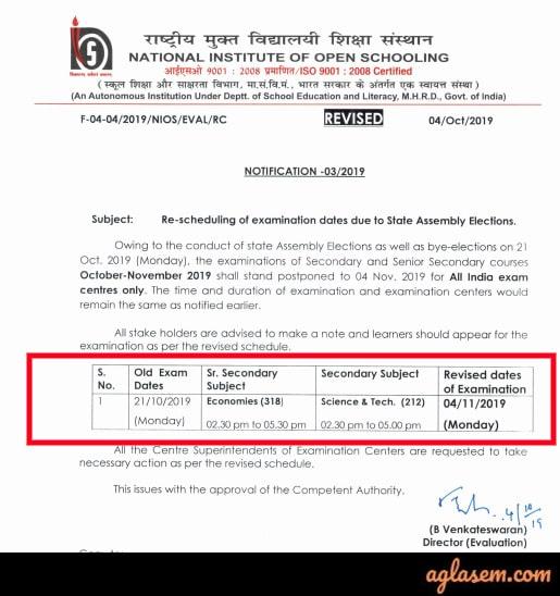 NIOS Revised October 2019 Exam Dates