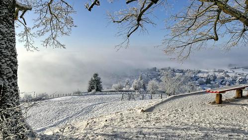 schnee snow winter sonnenaufgang sunrise nebel fog landschaft landscape