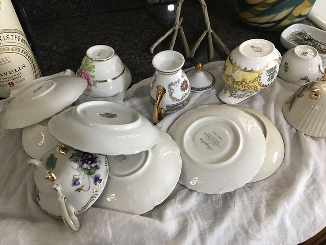 washed cups and saucers