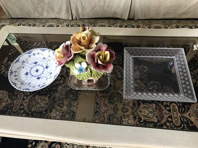 Tiffany crystal tray and Royal Copenhagen plate