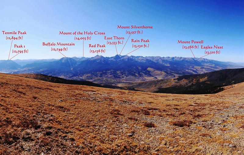 Looking west at Gore Range from Ptarmigan Peak's summit 1-1