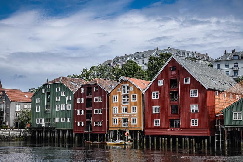 Wood houses by Nidelva river