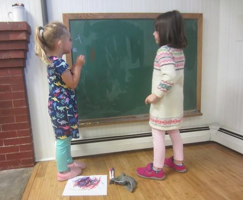 making Ts on the chalkboard
