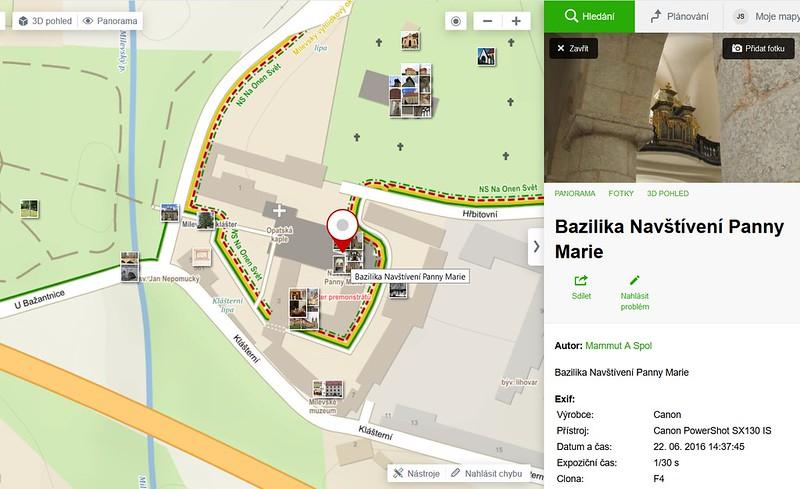 Prezentovat fotky památek v kontextu lze na Mapách Seznamu, ale s rezervami (mažou duplicity apod.)