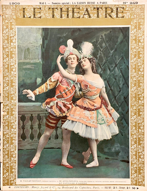 Le Theatre, No. 249.  Paris: Manzi, Joyant, & Cie, May 1909. Photo Cover with Vaslav Nijinsky and Anna Pavlova.