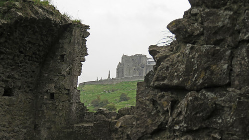 The ruins of a wall in the Cashel Hore Abbey in Ireland