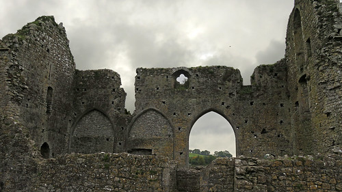 An archway in the ruins of Cashel Hore Abbey in Ireland