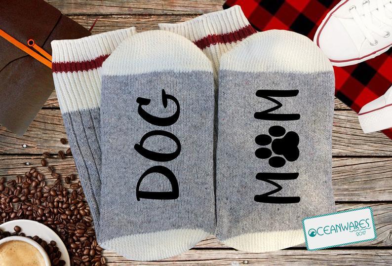 Dog Mom Grey Work Socks