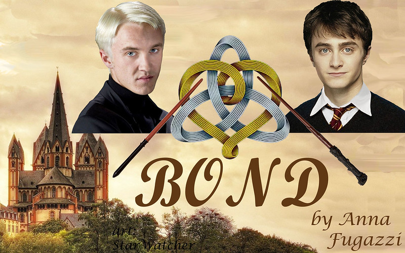 Hogwarts castle in lower left, with pale cloudy sky expanse behind.  Headshots of 17-year-old Draco and Harry above, separated by gold-and-silver Celtic marriage knot, crossed by each man's wand.  Text reads 'Bond'.