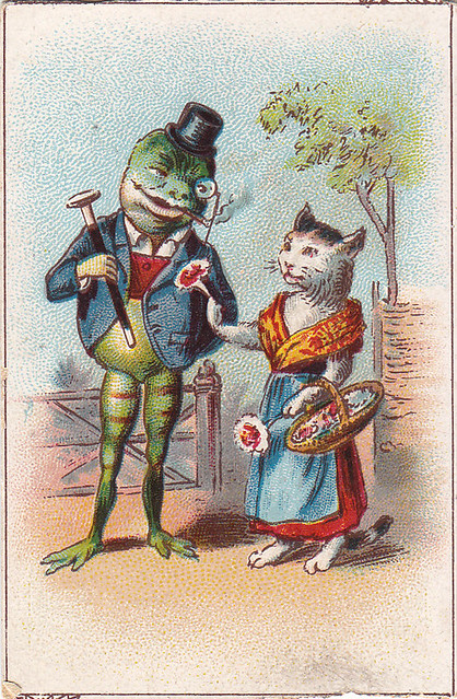 chromo cacao francken -  chromo cacao francken  - toad wearing suit and monocle being offered posy of flowers by cat