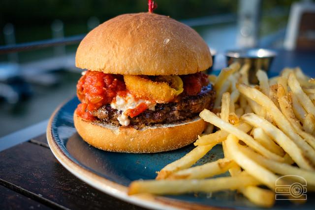 Burger w/ Herbed Ricotta, Marinara, Fried Banana Peppers - Table 9