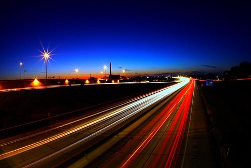 bluehour traffictrails longexposure bulbexposure sunset villageofallouez wisconsin