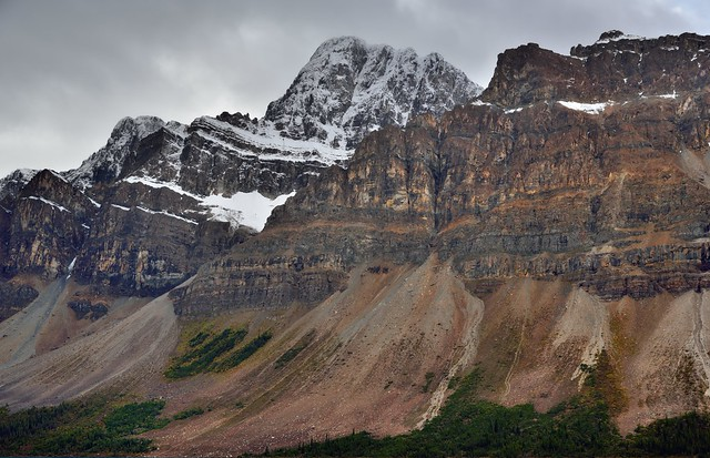 A Mountainside with Peaks and Glaciers (Banff National Park)